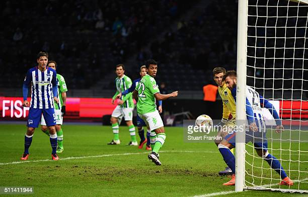 Luiz Gustavo of Wolfsburg has a shot saved on the line by Marvin Plattenhardt of Berlin during the Bundesliga match between Hertha BSC and VfL...