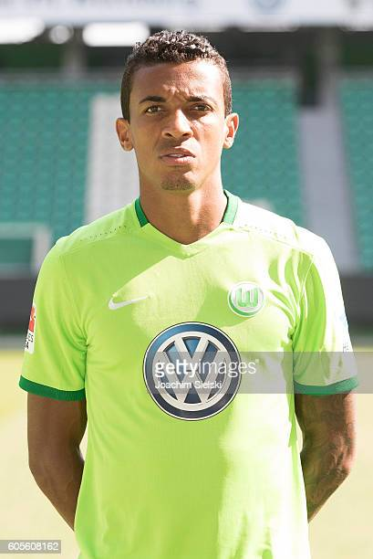 Luiz Gustavo poses during the official team presentation of VfL Wolfsburg at Volkswagen Arena on September 14 2016 in Wolfsburg Germany