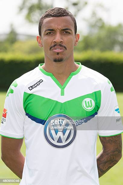 Luiz Gustavo poses during the team presentation of VfL Wolfsburg at Volkswagen Arena on July 16 2015 in Wolfsburg Germany