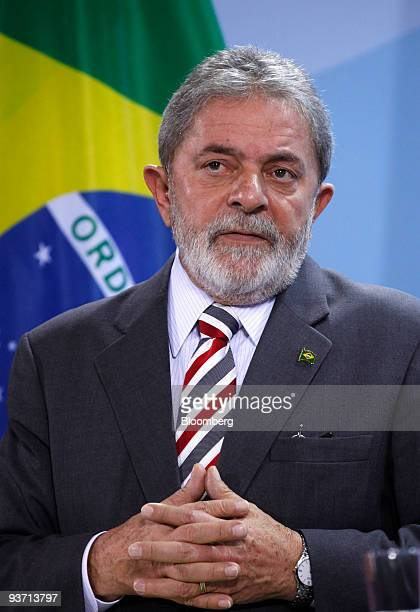 Luiz Inacio Lula da Silva Brazil's president pauses at a news conference at the German federal chancellory in Berlin Germany on Thursday Dec 3 2009...