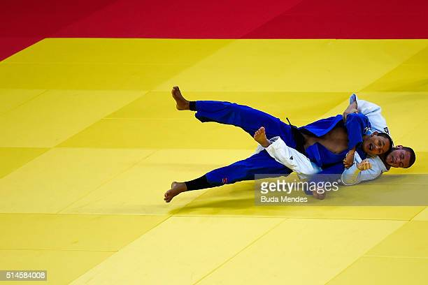 Luiz Junior of Brazil fights with Edu Ramos of Brazil during the 81kg category men at the International Judo Tournament Aquece Rio Test Event for the...