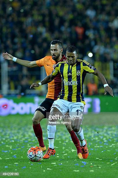 Luiz Nani of Fenerbahce in action against Yasin Oztekin of Galatasaray during the Turkish Spor Toto Super League football match between Fenerbahce...