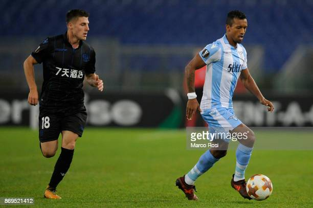 Luiz Nani of SS Lazio compete for the ball with Remi Walter of OGC Nice during the UEFA Europa League group K match between Lazio Roma and OGC Nice...