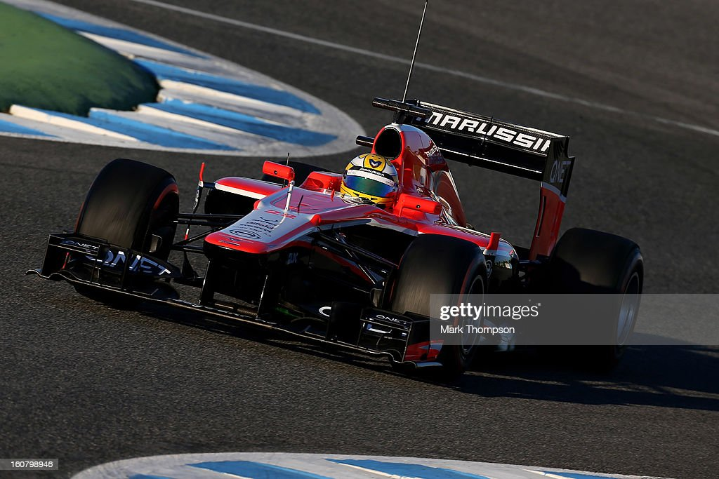 Luiz Razia of Brazil and Marussia drives during Formula One winter testing at Circuito de Jerez on February 6, 2013 in Jerez de la Frontera, Spain.