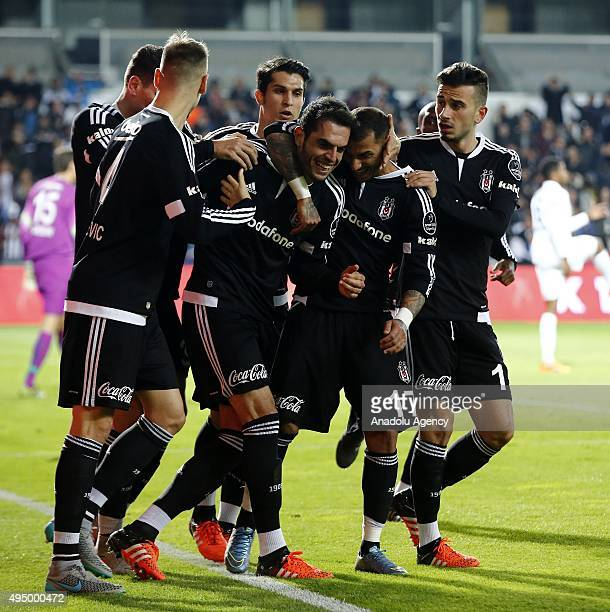 Luiz Rhodolfo of Besiktas is celebrates a score with his team mates during a Turkish Spor Toto Super League soccer match between Besiktas JK and...