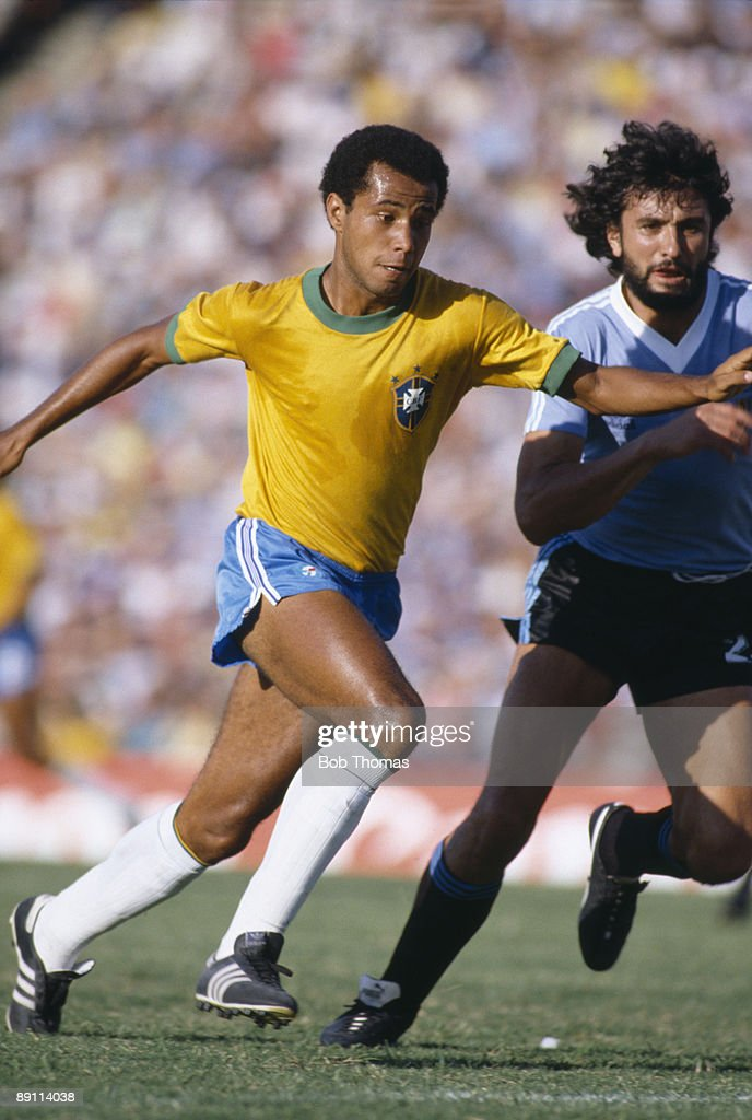 Luizinho of Brazil with Walter Olivera of Uruguay during the Copa De Ora Final played in Montevideo Uruguay on the 10th January 1981 Uruguay won 21