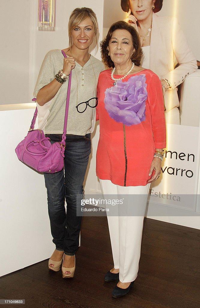 Lujan Arguelles (L) and Carmen Navarro present Carmen Navarro beauty space at El Corte Ingles Store on June 21, 2013 in Madrid, Spain.
