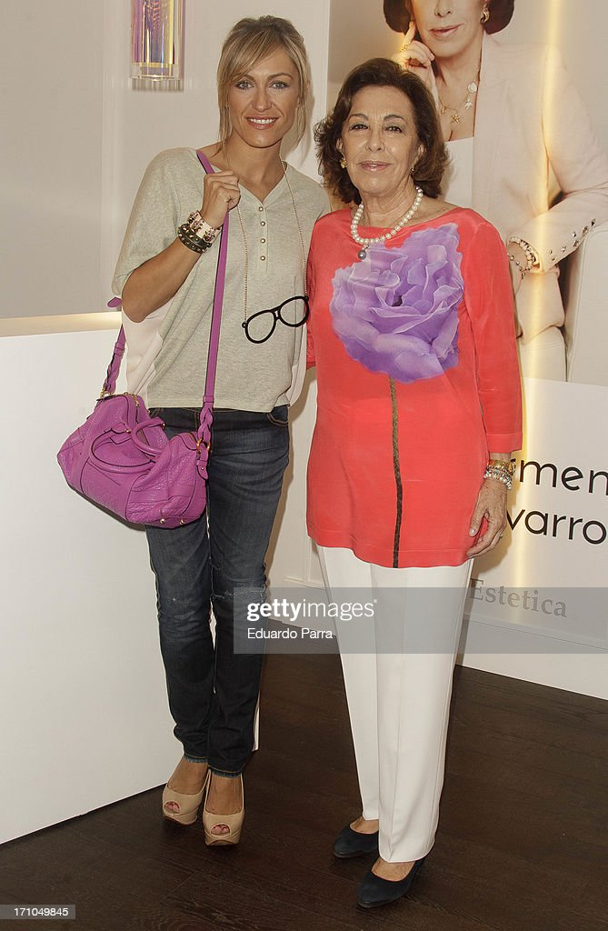 Lujan Arguelles (L) and Carmen Navarro present Carmen Navarro beauty space at El Corte Ingles Store on June 21, 2013 in Madrid, Spain.
