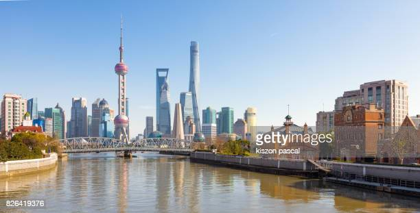 Lujiazui district of Shanghai in day with clear blue sky ( China , Asia )
