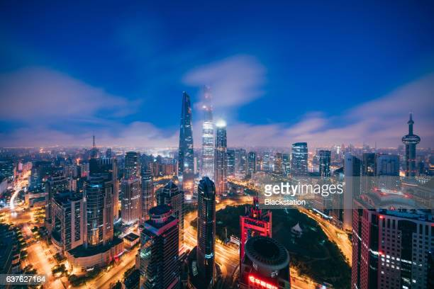 Lujiazui Finance and Trade Zone is ablaze with lights at night