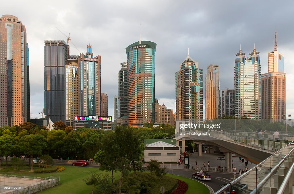 Lujiazui skyline with his high rise buildings.