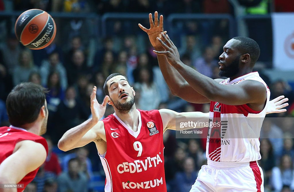 Luka Babic #9 of Cedevita Zagreb competes with Charles Jenkins #22 of EA7 Emporio Armani Milan during the Turkish Airlines Euroleague Basketball...