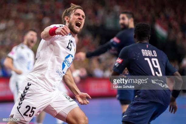 Luka Cindric of Vardar celebrates after a goal during the VELUX EHF FINAL4 Final match between Paris SaintGermain Handball and HC Vardar at Lanxess...