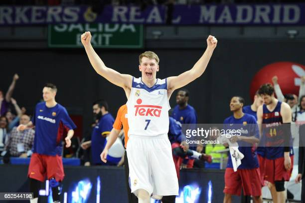 Luka Doncic #7 guard of Real Madrid celebrates the victory at the end of the La Liga Endesa game between Real Madrid v FC Barcelona at Barclaycard...