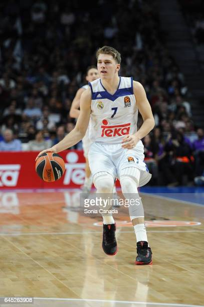 Luka Doncic #7 guard of Real Madrid during the 2016/2017 Turkish Airlines Euroleague Regular Season Round 23 game between Real Madrid and Darussafaka...