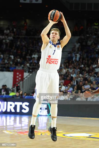 Luka Doncic #7 guard of Real Madrid during the 2016/2017 Turkish Airlines Euroleague Regular Season Round 29 game between Real Madrid v Fenerbahce...