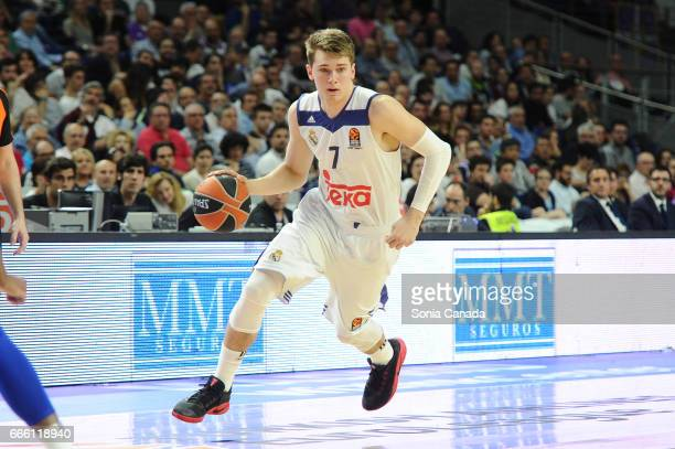 Luka Doncic #7 guard of Real Madrid during the 2016/2017 Turkish Airlines Euroleague Regular Season Round 30 game between Real Madrid and Anadolu...