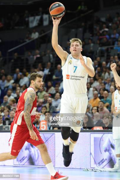 Luka Doncic #7 guard of Real Madrid during the 2017/2018 Turkish Airlines Euroleague Regular Season Round 3 game between Real Madrid v AX Armani...