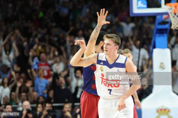 Luka Doncic #7 guard of Real Madrid during the Liga Endesa game between Real Madrid v FC Barcelona at Barclaycard Center on March 12 2017 in Madrid...