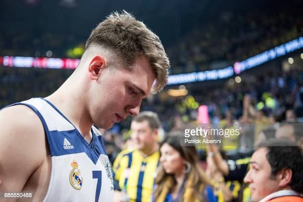 Luka Doncic #7 of Real Madrid at the and of the Turkish Airlines EuroLeague Final Four Semifinal A game between Fenerbahce Istanbul v Real Madrid at...