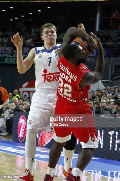 Luka Doncic #7 of Real Madrid competes with Charles Jenkins #22 of Crvena Zvezda mts Belgradeduring the 2016/2017 Turkish Airlines EuroLeague Regular...
