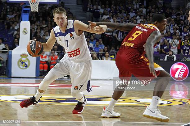 Luka Doncic #7 of Real Madrid in action during the 2016/2017 Turkish Airlines EuroLeague Regular Season Round 5 game between Real Madrid v...