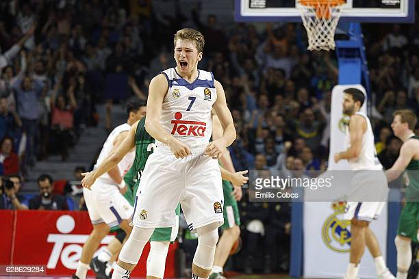 Luka Doncic #7 of Real Madrid in action during the 2016/2017 Turkish Airlines EuroLeague Regular Season Round 11 game between Real Madrid v Zalgiris...