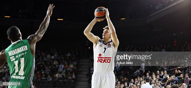 Luka Doncic #7 of Real Madrid in action during the 2016/2017 Turkish Airlines EuroLeague Regular Season Round 12 game between Darussafaka Dogus...
