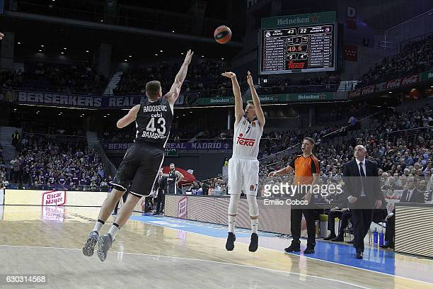 Luka Doncic #7 of Real Madrid in action during the 2016/2017 Turkish Airlines EuroLeague Regular Season Round 13 game between Real Madrid v Brose...