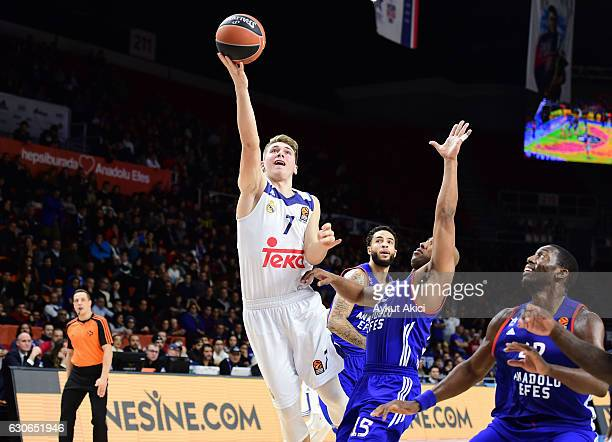 Luka Doncic #7 of Real Madrid in action during the 2016/2017 Turkish Airlines EuroLeague Regular Season Round 15 game between Anadolu Efes Istanbul v...