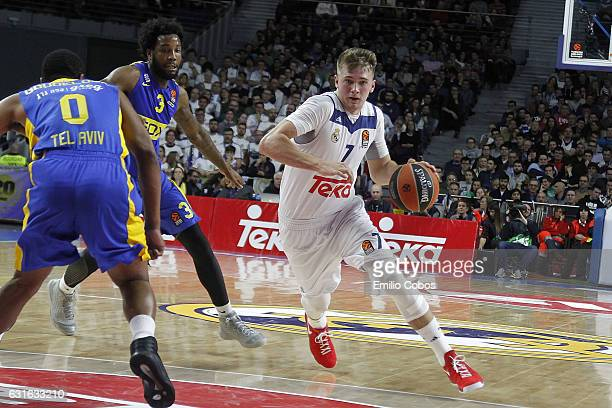 Luka Doncic #7 of Real Madrid in action during the 2016/2017 Turkish Airlines EuroLeague Regular Season Round 17 game between Real Madrid v Maccabi...
