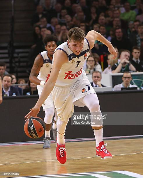 Luka Doncic #7 of Real Madrid in action during the 2016/2017 Turkish Airlines EuroLeague Regular Season Round 18 game between Zalgiris Kaunas v Real...