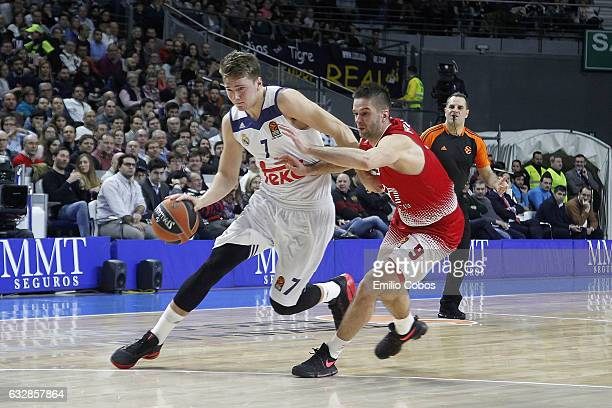 Luka Doncic #7 of Real Madrid in action during the 2016/2017 Turkish Airlines EuroLeague Regular Season Round 20 game between Real Madrid v EA7...