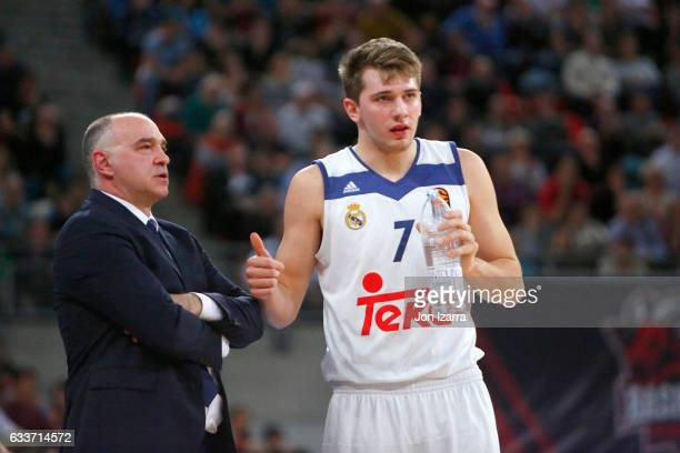 Luka Doncic #7 of Real Madrid in action during the 2016/2017 Turkish Airlines EuroLeague Regular Season Round 21 game between Baskonia Vitoria...