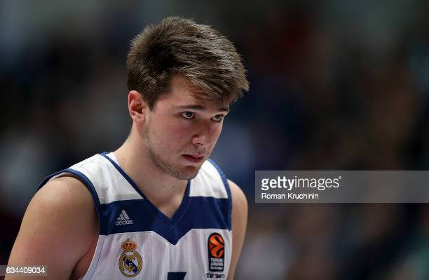 Luka Doncic #7 of Real Madrid in action during the 2016/2017 Turkish Airlines EuroLeague Regular Season Round 22 game between Unics Kazan v Real...