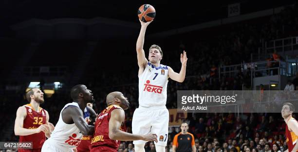 Luka Doncic #7 of Real Madrid in action during the 2016/2017 Turkish Airlines EuroLeague Regular Season Round 24 game between Galatasaray Odeabank...