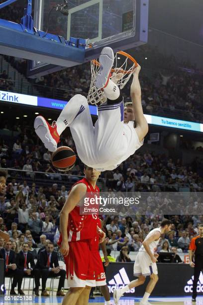Luka Doncic #7 of Real Madrid in action during the 2016/2017 Turkish Airlines EuroLeague Regular Season Round 25 game between Real Madrid v Crvena...