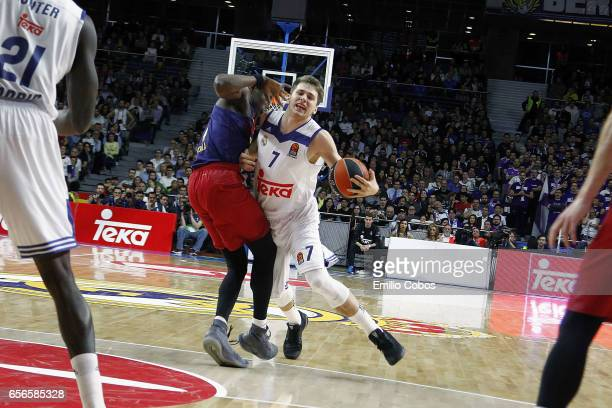 Luka Doncic #7 of Real Madrid in action during the 2016/2017 Turkish Airlines EuroLeague Regular Season Round 27 game between Real Madrid v FC...