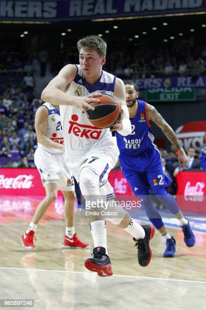 Luka Doncic #7 of Real Madrid in action during the 2016/2017 Turkish Airlines EuroLeague Regular Season Round 30 game between Real Madrid v Anadolu...