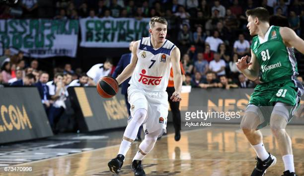 Luka Doncic #7 of Real Madrid in action during the 2016/2017 Turkish Airlines EuroLeague Playoffs leg 3 game between Darussafaka Dogus Istanbul v...