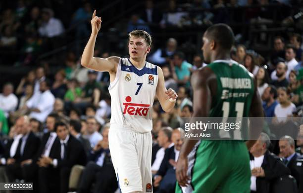 Luka Doncic #7 of Real Madrid in action during the 2016/2017 Turkish Airlines EuroLeague Playoffs leg 4 game between Darussafaka Dogus Istanbul v...