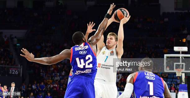 Luka Doncic #7 of Real Madrid in action during the 2017/2018 Turkish Airlines EuroLeague Regular Season Round 1 game between Anadolu Efes Istanbul v...
