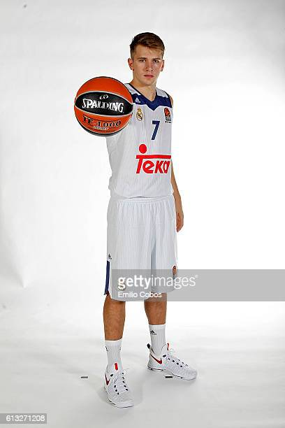Luka Doncic #7 of Real Madrid poses during the 2016/2017 Turkish Airlines EuroLeague Media Day at Barclaycard Center on October 04 2016 in Madrid...
