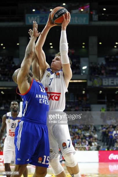 Luka Doncic #7 of Real Madridin action during the 2016/2017 Turkish Airlines EuroLeague Regular Season Round 30 game between Real Madrid v Anadolu...