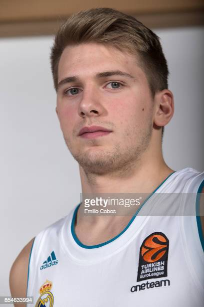 Luka Doncic #7 poses during Real Madrid 2017/2018 Turkish Airlines EuroLeague Media Day at Wizink Arena on September 25 2017 in Madrid Spain