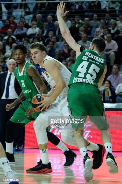 Luka Doncic of Real Madrid during the 2016/2017 Turkish Airlines Euroleague Regular Season Round 23 game between Real Madrid and Darussafaka Dogus...