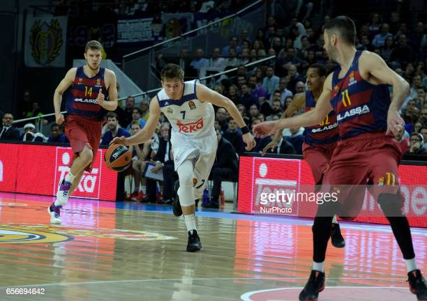 Luka Doncic of Real Madrid during the 2016/2017 Turkish Airlines Euroleague Regular Season Round 27 game between Real Madrid v FC Barcelona Lass at...