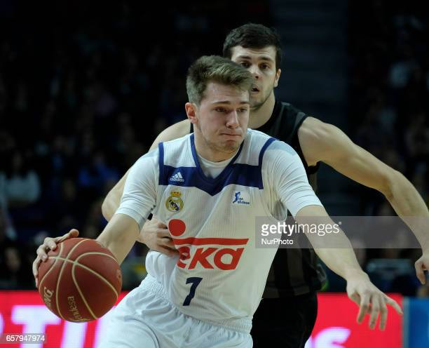 Luka Doncic of Real Madrid during the ACB basketball league match held between Real Madrid and RETAbet Bilbao at the Sports Palace in Madrid Spain on...
