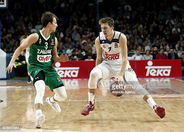 Luka Doncic of Real Madrid in action against Kevin Pangos of Zalgiris Kaunas during the Turkish Airlines Euroleague basketball match between Real...