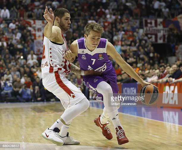 Luka Doncic of Real Madrid in action against Stefan Jovic of Crvena Zvezda during the 2016/2017 Turkish Airlines EuroLeague Regular Season Round 14...